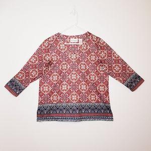 Alfred Dunner boho jeweled V-neck shirt NEW sz M
